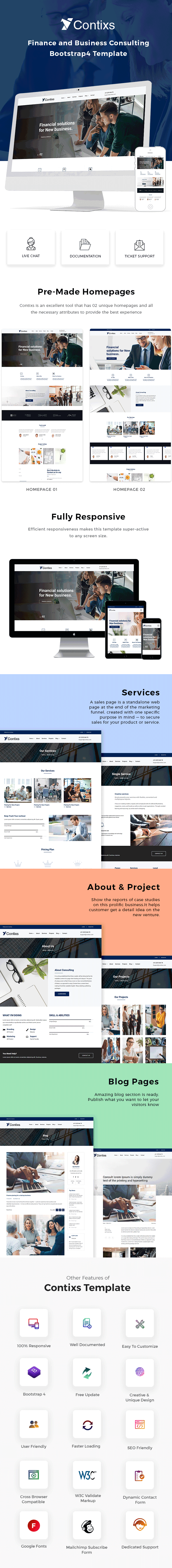 Contixs - Finance and Business Consulting Bootstrap 4 Template