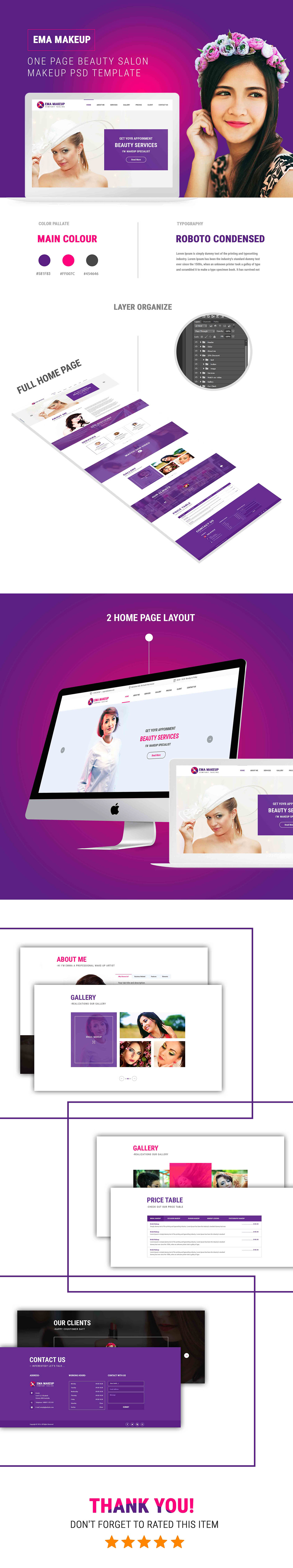 Ema Makeup - One Page Beauty Salon Makeup HTML Template