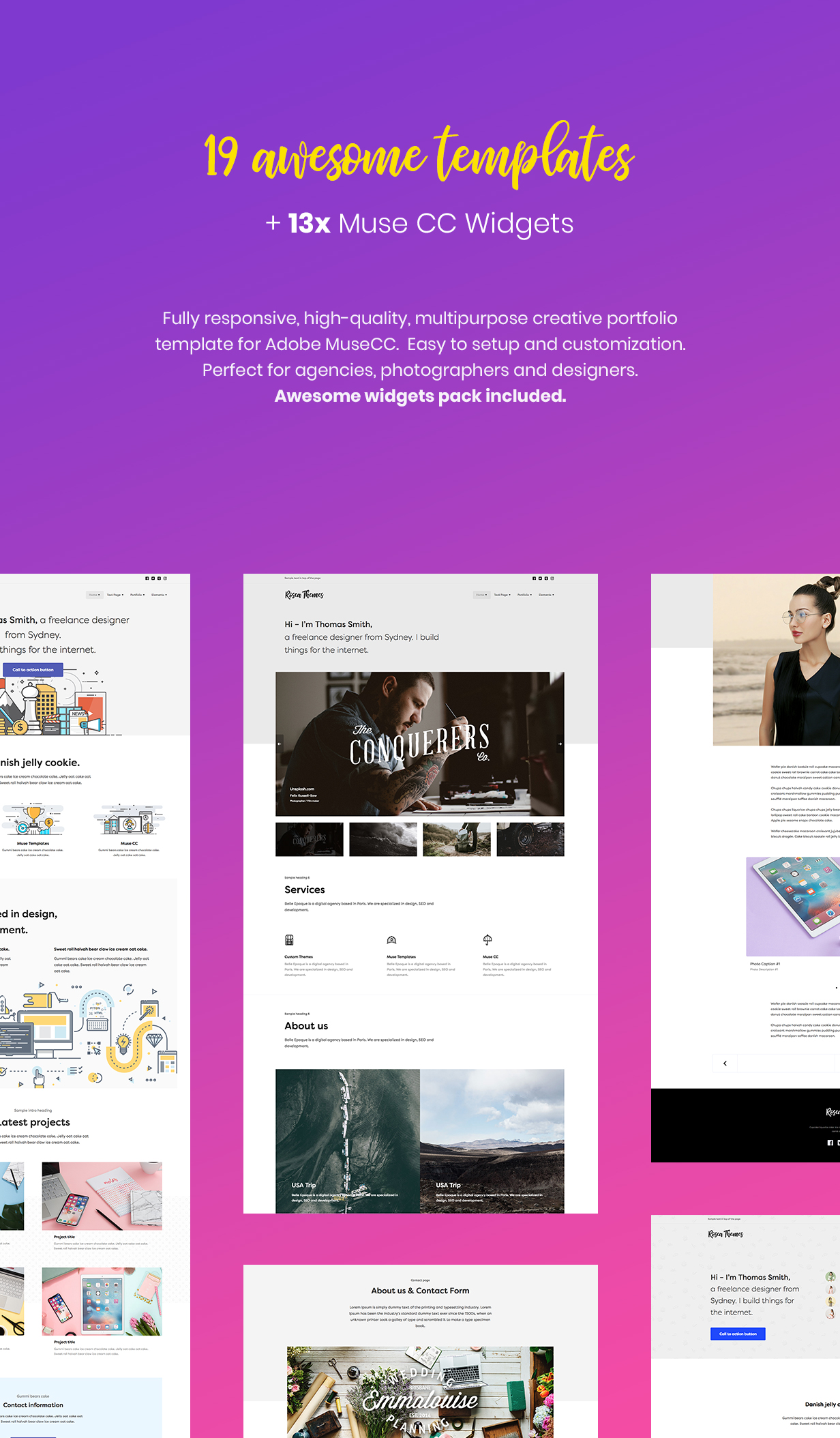 Simple - Creative Portfolio Muse CC Templates and Widgets for Adobe Muse CC