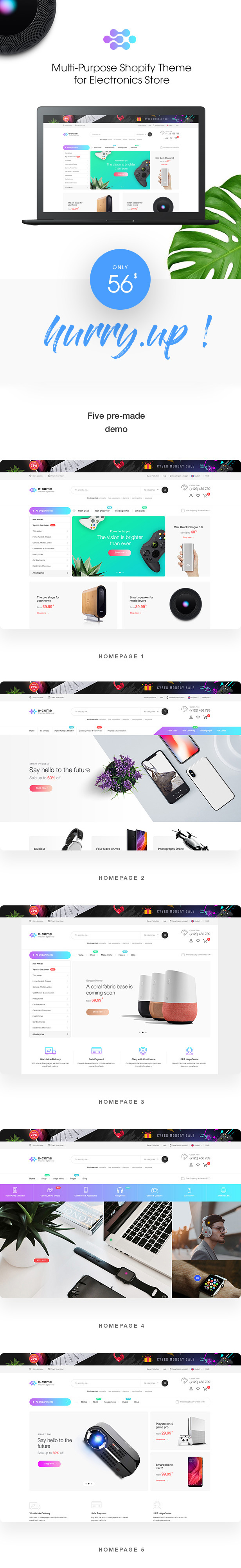 E-come | Multi-Purpose Shopify Theme for Electronics Store