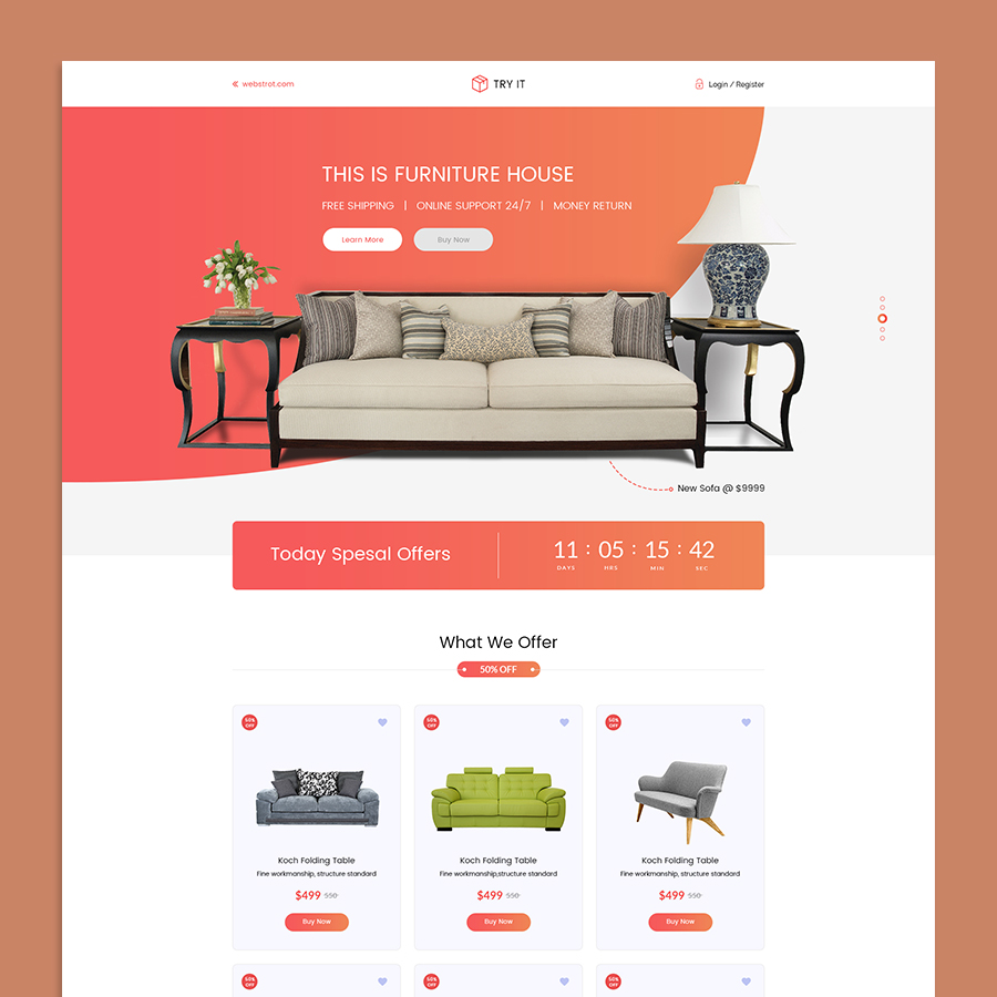 Tryit - Product Offer Landing Page HTML Template