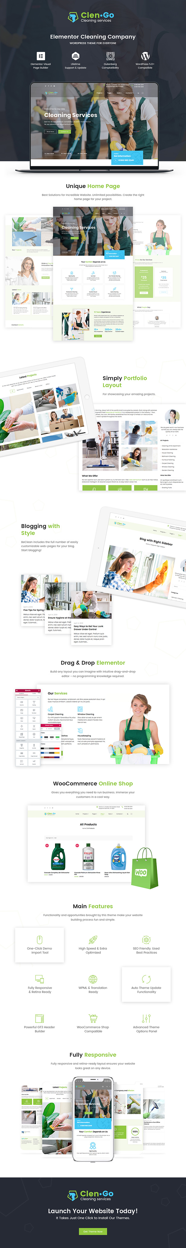 Elementor Cleaning Services WordPress Theme - Clengo