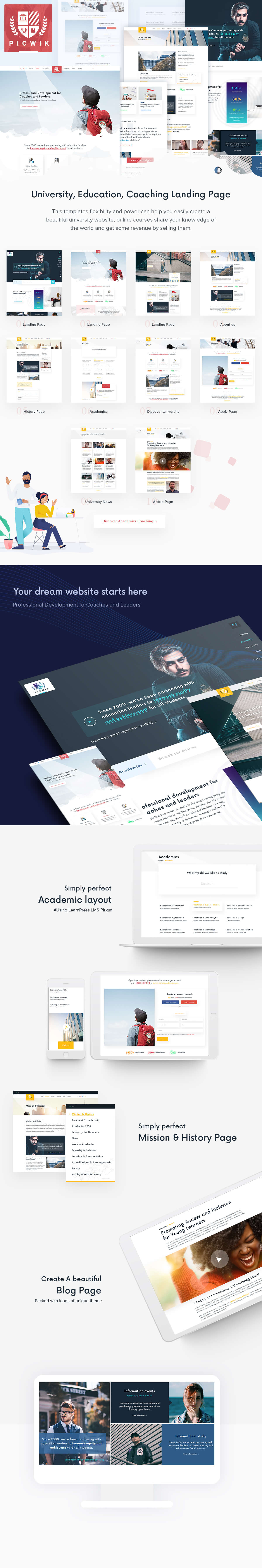 Picwik - University, Education Landing Page